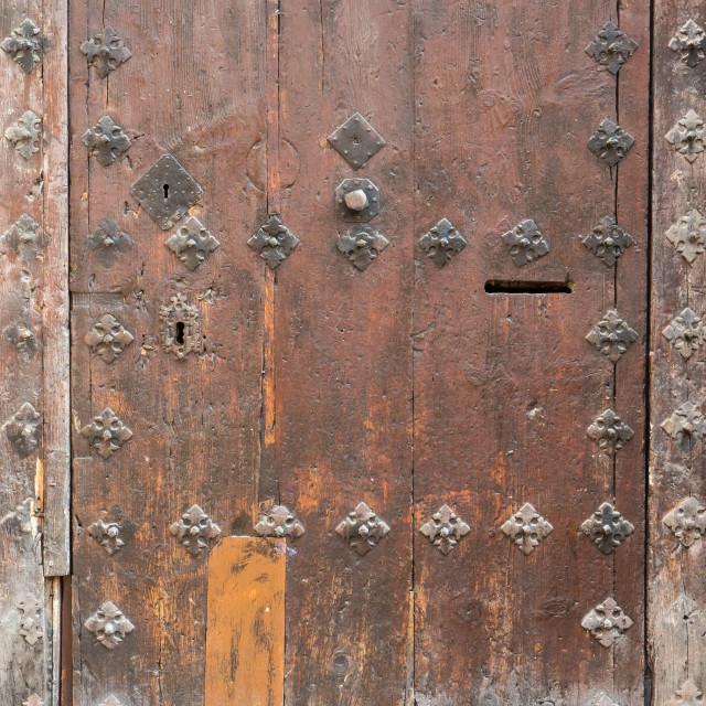 """""""Old wooden door, Albarracin, Spain"""" stock image"""