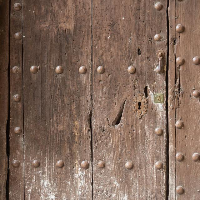 """""""Wooden door, Albarracin, Spain"""" stock image"""