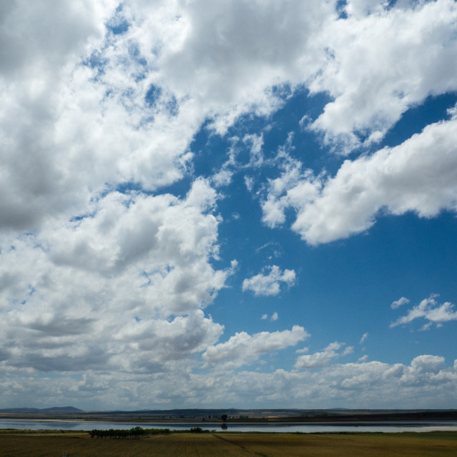 """Big sky, Spain, Laguna de Gallocanta, Spain"" stock image"
