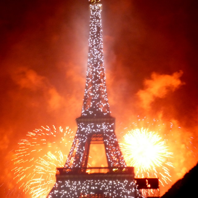 """""""Eiffel Tower and fireworks"""" stock image"""