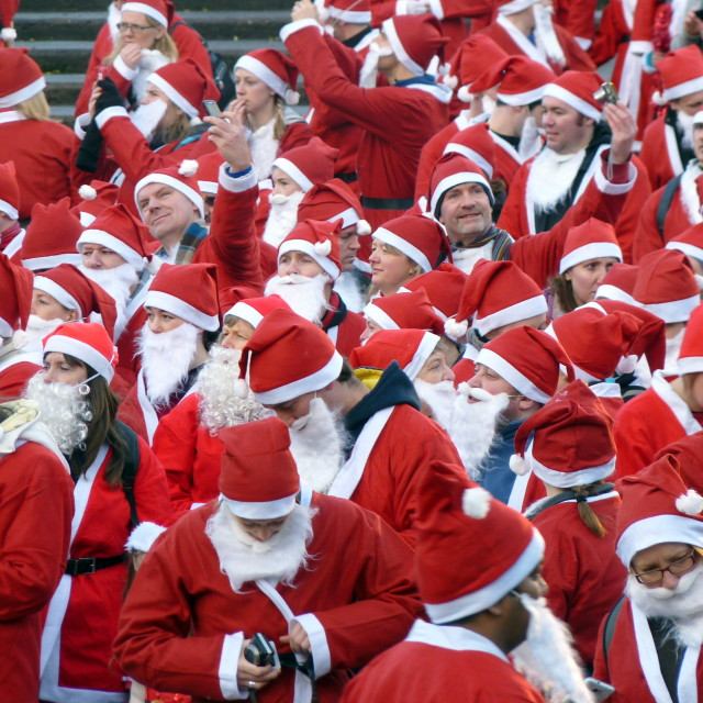 """Bunch of santa claus"" stock image"