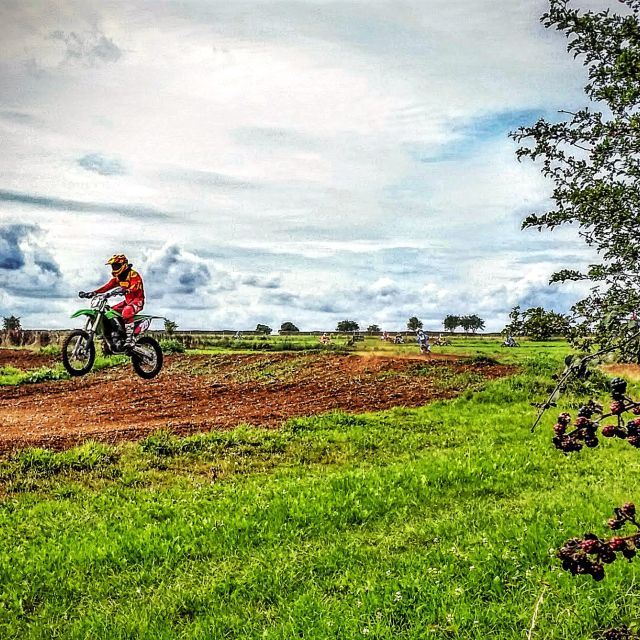 """""""Motorbikes In A Field"""" stock image"""
