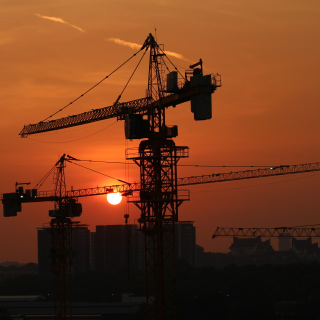 """silhouette of a crane against the sunset sky"" stock image"