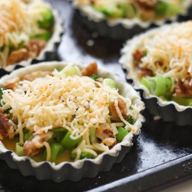 """""""Uncooked broccoli tart"""" stock image"""
