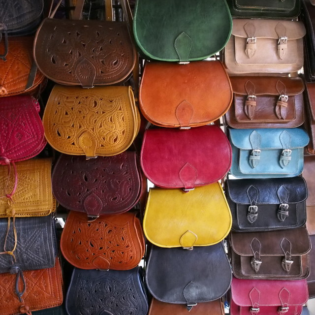 """Brightly coloured leather bags for sale, marrakech"" stock image"