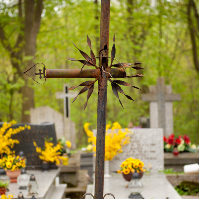 """""""old damaged rusted cross on cemetery in Poland"""" stock image"""