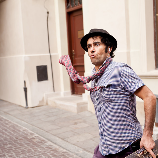 """Funny face mime street performer"" stock image"
