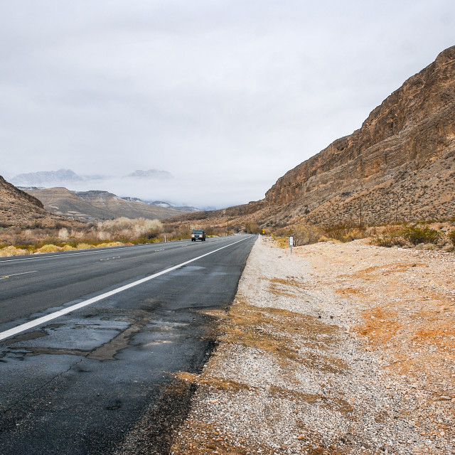 """Road through Mojave desert"" stock image"