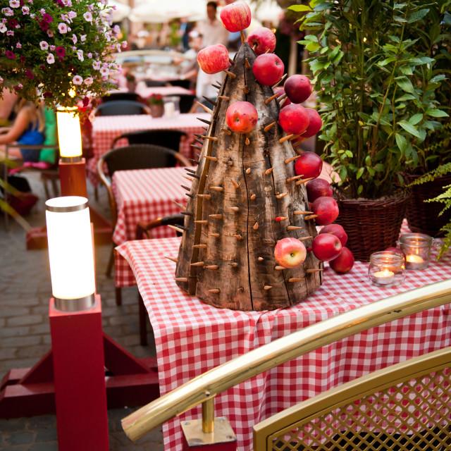 """U Fukiera restaurant apples holder"" stock image"