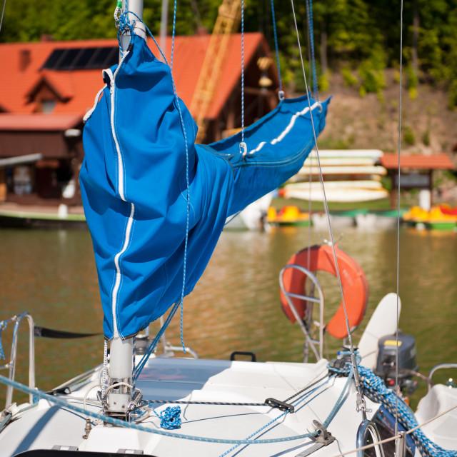 """Blue mast covering sheath foreground"" stock image"