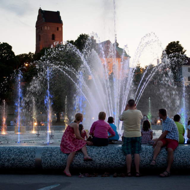 """""""Evening fountain tourists attraction"""" stock image"""