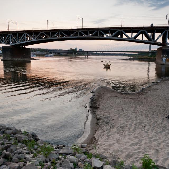 """Dry Vistula River evening view"" stock image"