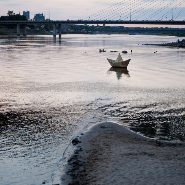 """Dry Vistula River twilight view"" stock image"