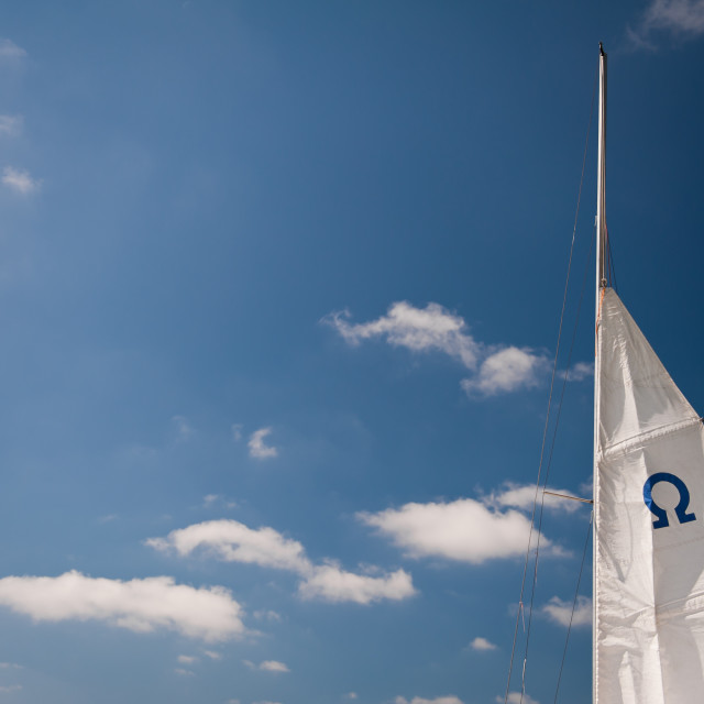 """Omega symbol on mast"" stock image"