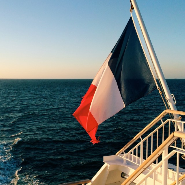 """French flag on a ferry"" stock image"