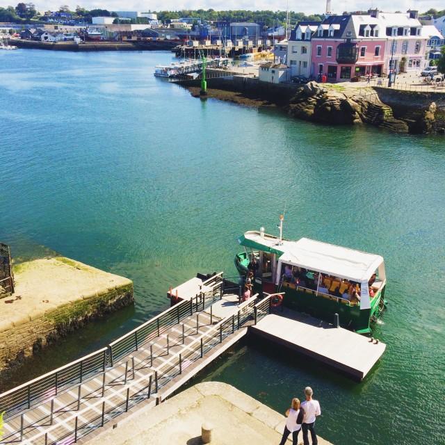 """Harbour Ferry, Concarnau"" stock image"