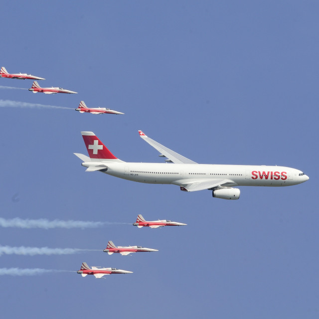 """SWISS Airbus with Patrouille Suisse"" stock image"