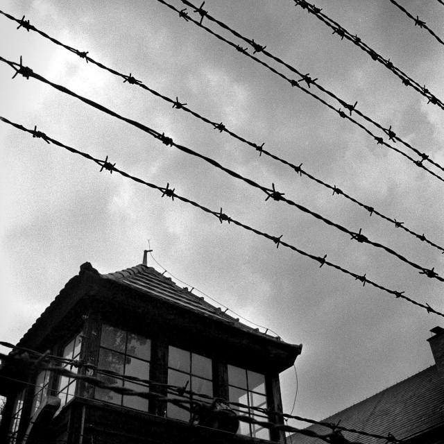 """""""Auschwitz watch tower"""" stock image"""