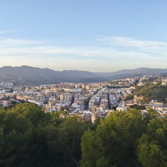 """Panoramic view of Malaga City"" stock image"