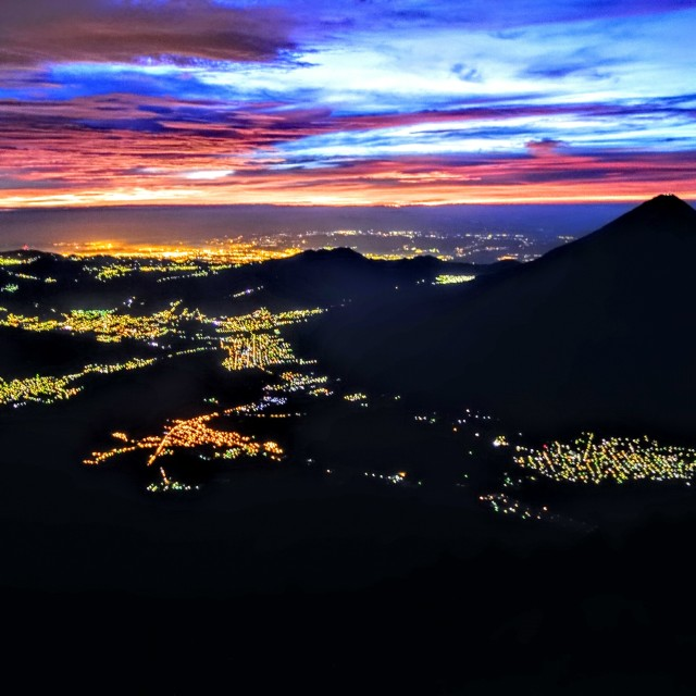 """Sunrise Antigua and Guatemala City, Guatemala."" stock image"