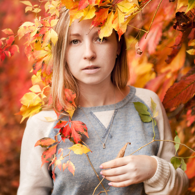 """Autumn girl portrait in red"" stock image"