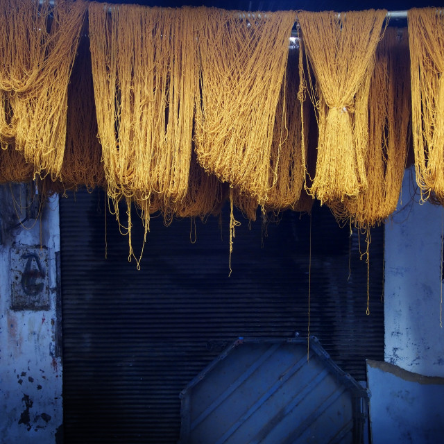 """Cotton dyeing in the souks of Marrakech"" stock image"