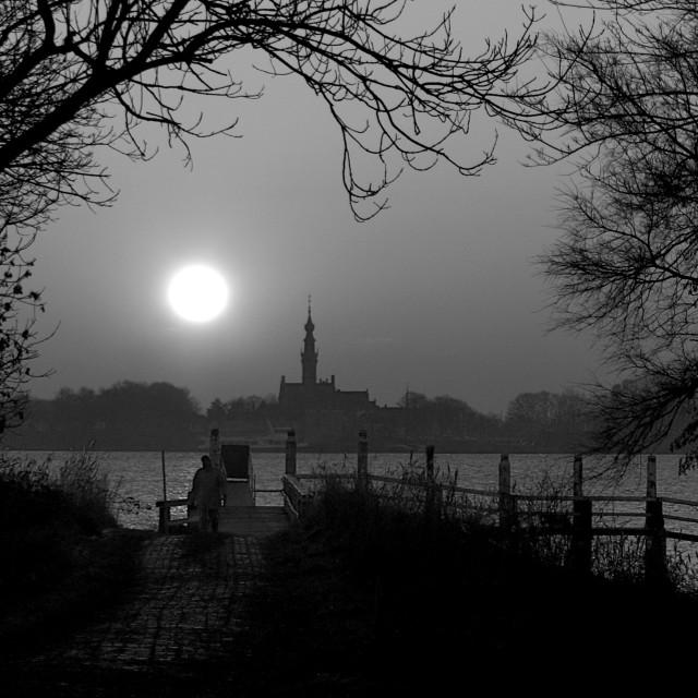 """Sunset Black and White"" stock image"