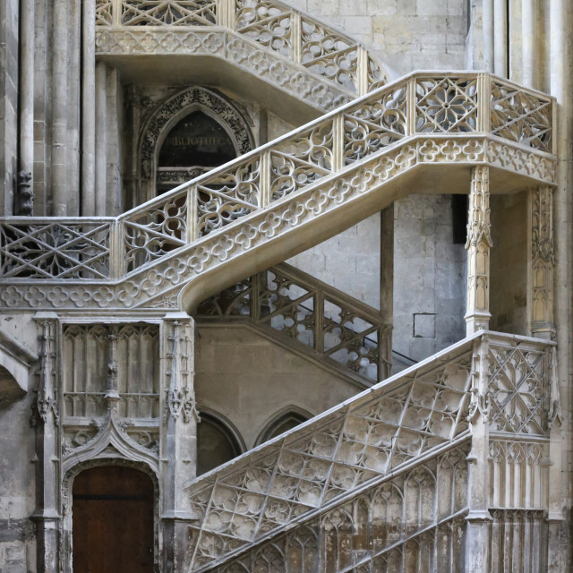 """""""Stone Staircase Rouen Cathedral"""" stock image"""