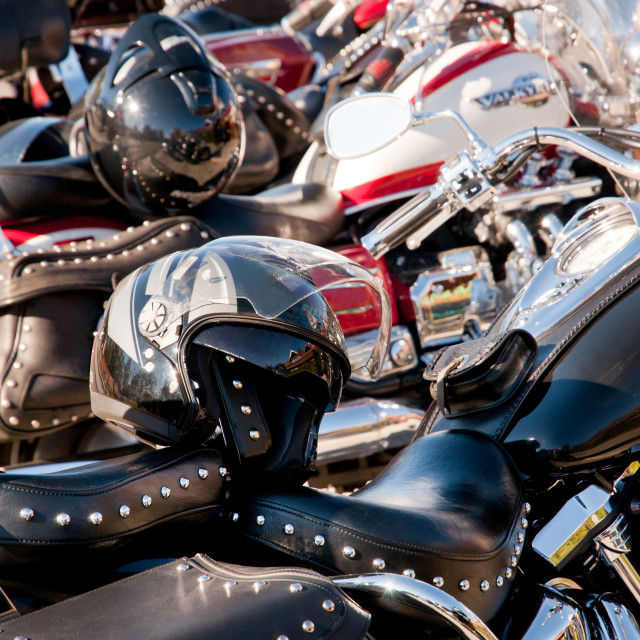 """Shining Harley Davidson and helmets"" stock image"
