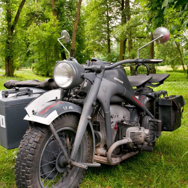 """Zundapp vintage motorcycle standing"" stock image"
