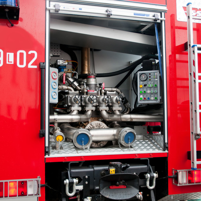 """""""Opened fire truck device interior"""" stock image"""
