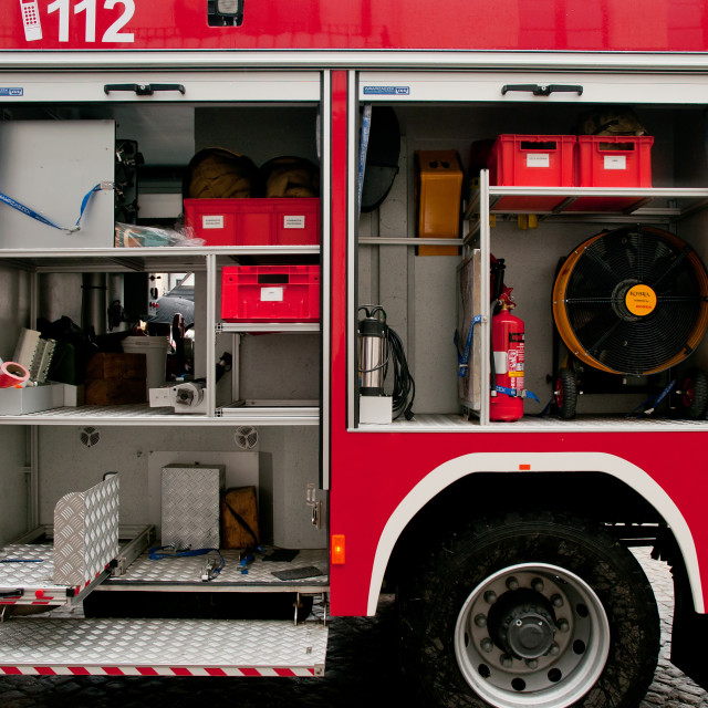 """""""Accessories in opened fire truck"""" stock image"""