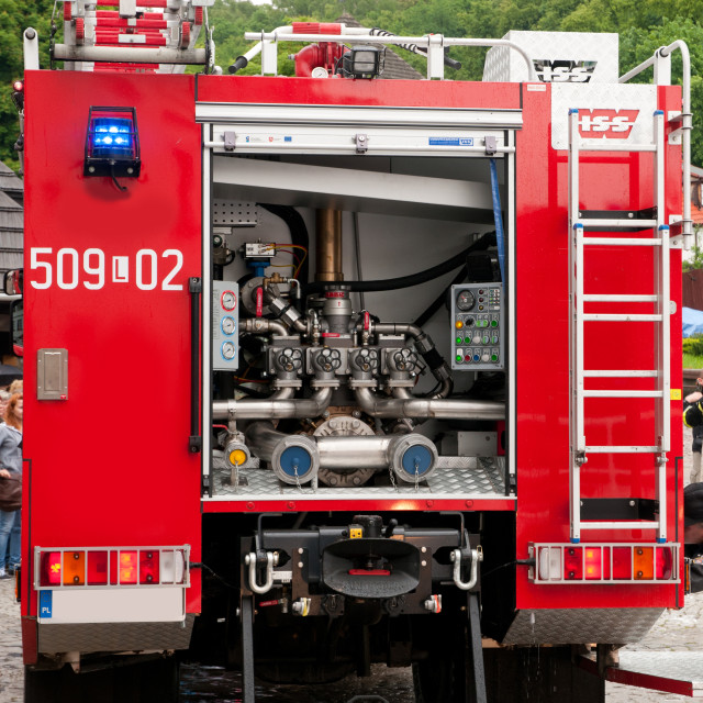 """""""Back of opened fire truck"""" stock image"""