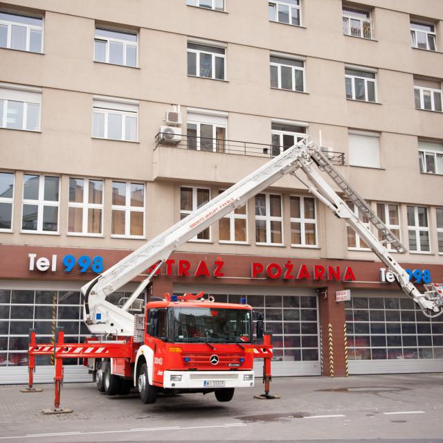"""Fire brigade put up in elevator"" stock image"