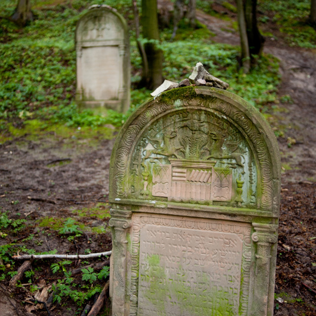 """Pebbles on macewa at Jewish cemetery"" stock image"