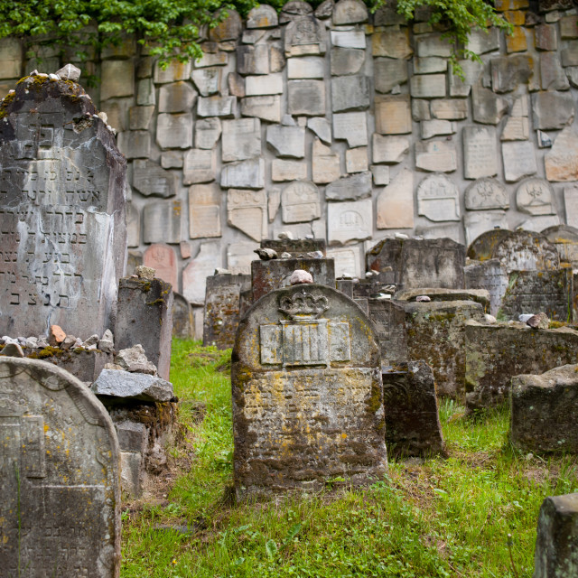 """""""Pebbles on Jewish graves at cemetery"""" stock image"""