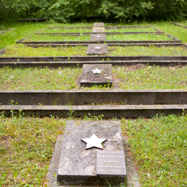 """Grave slabs in a row"" stock image"