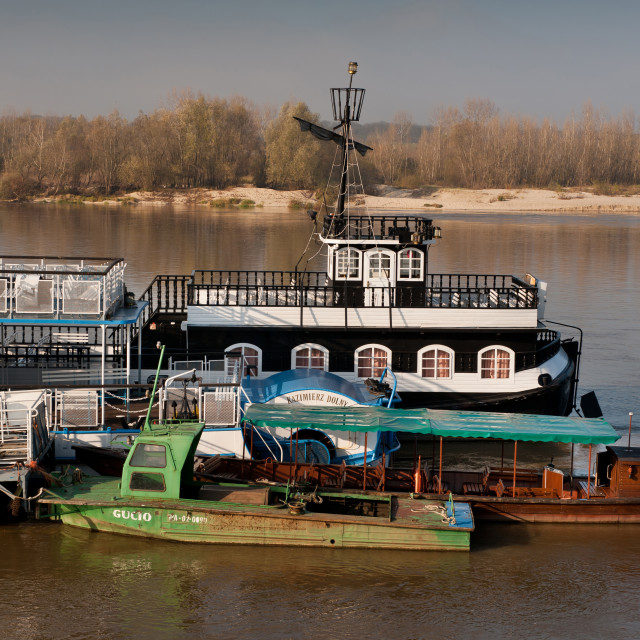 """ferry ship attraction at Vistula River"" stock image"