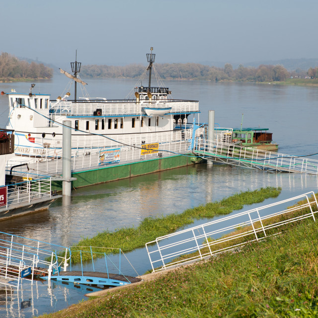 """Tourist ferry at Vistula River"" stock image"