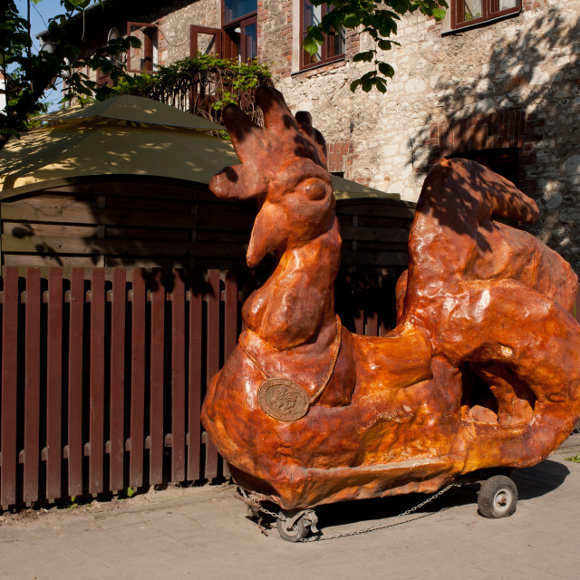 """""""Wooden sculpture of legendary rooster"""" stock image"""
