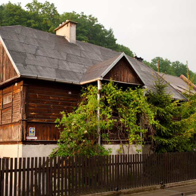 """""""Old wooden house with tar"""" stock image"""