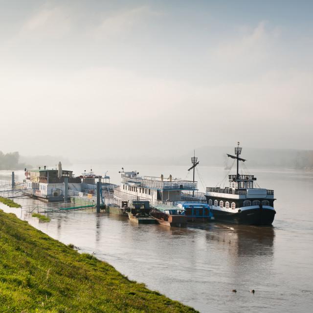 """""""ferry ships at Vistula River"""" stock image"""