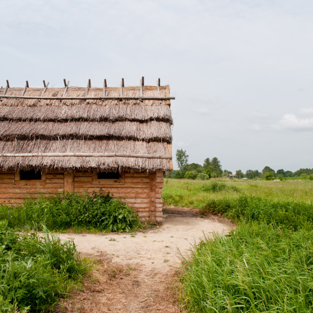 """Wooden Slav hut with thatch"" stock image"