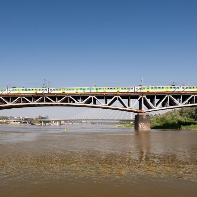 """""""Train on Poniatowski Bridge"""" stock image"""