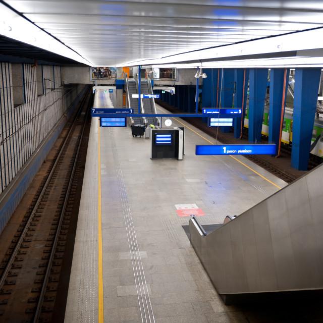 """Railway underground station empty"" stock image"
