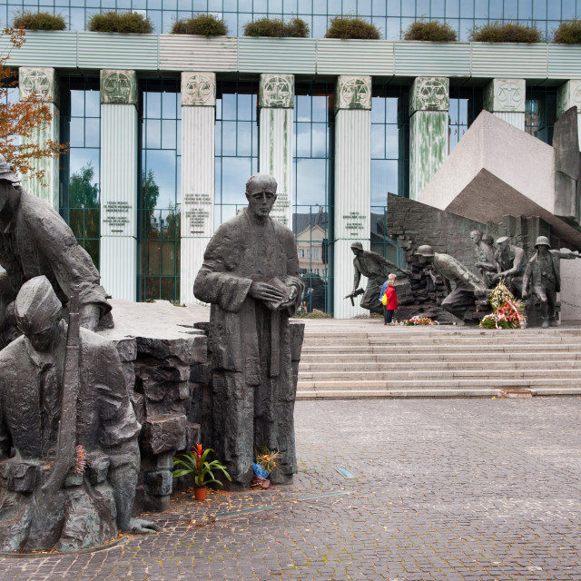 """""""Statue of insurgent at Warsaw uprising"""" stock image"""