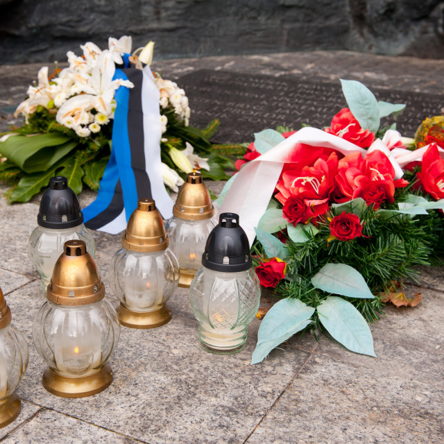 """""""Candles on monument uprising"""" stock image"""