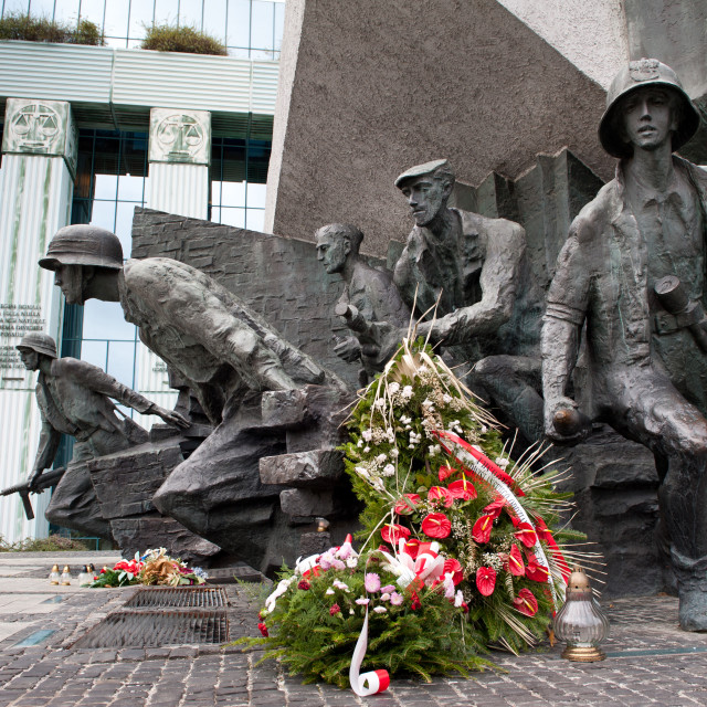 """Wreath on monument uprising Warsaw"" stock image"