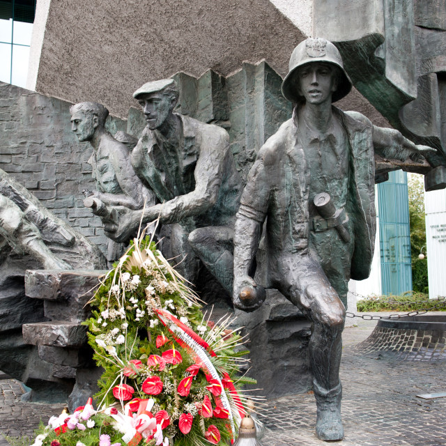 """""""Wreaths on Warsaw uprising monument"""" stock image"""