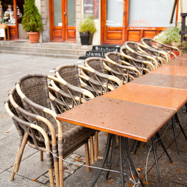"""""""Empty chairs binded to tables"""" stock image"""
